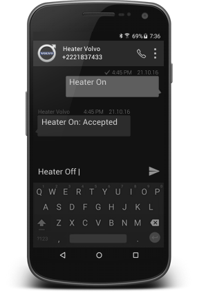 Smartphone with SMS Webasto Heater Control